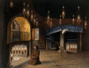 view Bethlehem: a monk praying in the chapel of the Nativity. Chromolithograph by H. Clerget and J. Gaildrau after F.E. Pâris, 1862.