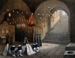 view Tomb of the Virgin, Jerusalem. Chromolithograph by H. Clerget and J. Gaildrau after François Edmond Pâris, 1862.