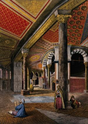 view Decorated interior of the mosque of Omar, Jerusalem. Chromolithograph by Bachelier and A. Adam after François Edmond Pâris, 1862.