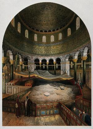 view Dome of the Rock in the Mosque of Omar, Jerusalem. Chromolithograph by H. Clerget and J. Gaildrau after François Edmond Pâris, 1862.