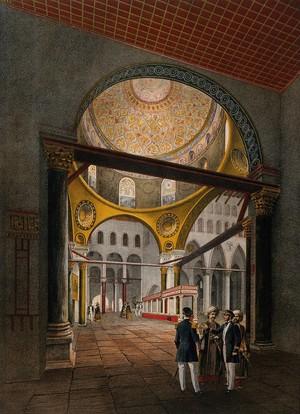 view Interior of the Al-Aksa mosque, Jerusalem. Chromolithograph by Bachelier and A. Adam after François Edmond Pâris, 1862.