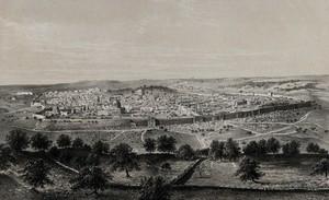 view Jerusalem. Chromolithograph by H. Clerget after François Edmond Pâris, 1862.
