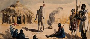 view An incantatory ceremony in a village watched by men with spears. Watercolour by E. Alec-Tweedie, ca. 1920.