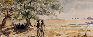 view Men with spears walking past tree with figures sitting in the shade. Watercolour by E. Alec-Tweedie, c. 1920.
