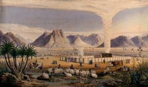 view The Israelites' encampment in the wilderness, guided by God in the form of a pillar of smoke. Watercolour by J.J. Derghi, 1866.