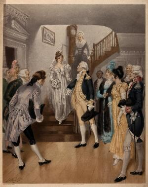 view George Washington's last birthday: Washington is shown preparing to escort Nelly Custis at her wedding on February 22 1799, as she descends a staircase at Mount Vernon, in her wedding gown. Photogravure after a painting by H. A. Ogden, 1899.
