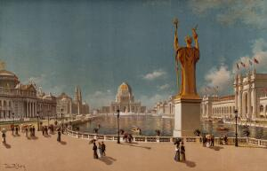 view The World's Columbian Exposition of 1893, Chicago: a view of the Court of Honour, seen from the Peristyle. Chromolithograph with gouache after a painting by J.R. Key, 1894.