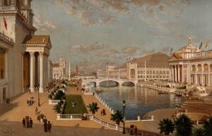 view The World's Columbian Exposition of 1893, Chicago: a general view of the exhibition buildings, seen from the Collonade. Chromolithograph with gouache after a painting by J.R. Key, 1894.