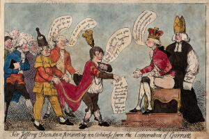 view Sir Jeffrey Dunstan, mayor of Garrett, presents an address from the Corporation of Garrett to William Pitt the younger, who wears a crown and sits on a commode. Coloured etching by F.G. Byron, 1788.
