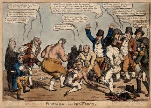 view A bare-knuckled boxing match between the Prince of Wales and Napoleon, with their supporters including a black man. Coloured etching by Charles Williams, 1815.