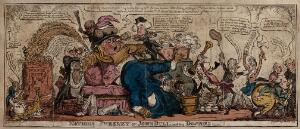 view John Bull as a patient, in disarray, reclines on a sofa and receives medical treatment from politicians. Coloured etching by G. Cruikshank, 1813.