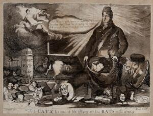 view The Prince Regent, his head irradiated, opens a bag containing cats; a cat with the head of Lord Eldon leaps on to a rat with the head of Lord Grey. Aquatint, 1811.
