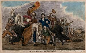view A naked woman representing Truth is defended by Lord Holland against attack by politicians abusing a government privilege in libel cases. Coloured etching by Samuel De Wilde, 1811.