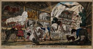 """view A menagerie of animals with the heads of politicians. Coloured etching by """"Aqua Fortis"""" after W.H. Brooke after """"Satirist"""", 1812."""