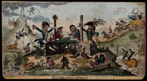 view Lord Cochrane and Captain de Beranger, collaborators in a fraudulent manipulation of the Stock Exchange, playing dice while in the stocks. Coloured etching by George Cruikshank, 1814.
