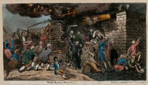 view The ministry of Spencer Perceval defending their government, represented as a citadel, against attack by Opposition politicians. Coloured etching by S. De Wilde, 1811.