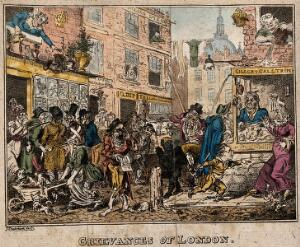 view A crowded street in London. Coloured etching by G. Cruikshank, 1812.
