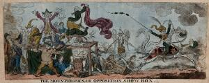 """view A troupe of quack medicine vendors crying up their wares, representing Opposition politicians advertising their policies to the Prince Regent, but he, represented as a horse ridden by R.C. Wellesley, gallops away from them. Coloured etching by G. Cruikshank after """"Nathaniel NoParty"""", 1812."""