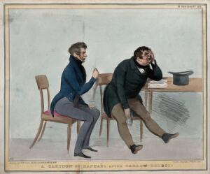 view Alexander Raphael and Daniel O'Connell crying. Coloured lithograph by H.B. (John Doyle), 1836.
