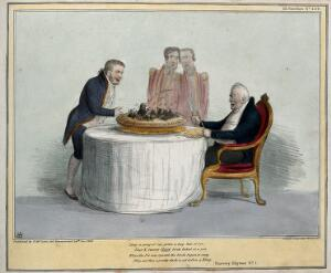 view King William IV sits with knife and fork at the ready before a pie containing blackbirds served to him by Lord Melbourne. Coloured lithograph by H.B. (John Doyle), 1836.