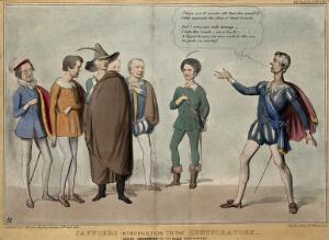view Lord Brougham dressed as Jaffier addresses a group of radical politicians including Roebuck, Whittle Harvey, Sir William Molesworth, Charles Buller and Joseph Hume. Coloured lithograph by H.B. (John Doyle), 1838.