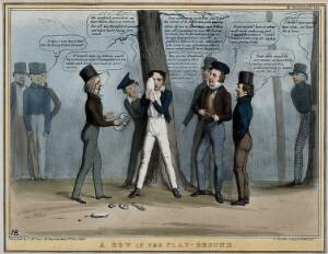 """view Lord Durham stands nursing his eye from a missile inscribed """"act of indemnity"""" thrown by Lord Brougham who stands to the far right behind a tree. Coloured lithograph by H.B. (John Doyle), 1838."""