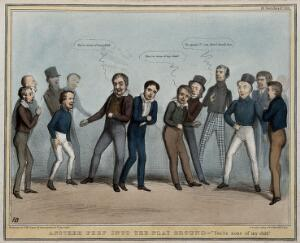 view Lord Durham, surrounded by schoolboy politicians, is victimised in a game and jostled by Lord Melbourne. Coloured lithograph by H.B. (John Doyle), 1838.