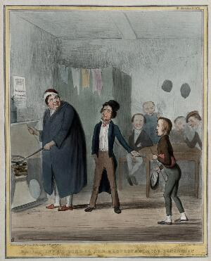 """view """"The Artful Dodger"""" the Marquess of Normanby, Lord-Lieutenant of Ireland, introduces """"Oliver"""" Lord Morpeth, Irish Secretary, to """"Fagin"""" Daniel O'Connell. Coloured lithograph by H.B. (John Doyle), 1839."""