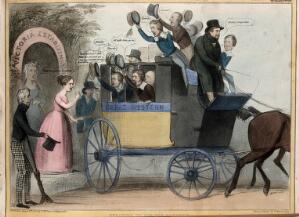 """view Daniel O'Connell drives a coach containing cheering schoolboy politicians that departs from the """"Victoria Establishment"""". Coloured lithograph by H.B. (John Doyle), 1840."""