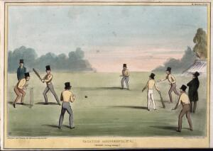 view A game of cricket with Lord Morpeth and Lord John Russell as the two batsmen. Coloured lithograph by H.B. (John Doyle), 1840.