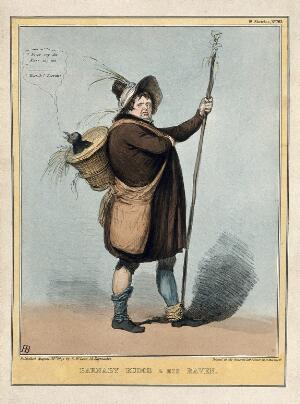 view Daniel O'Connell in the character of Charles Dickens' Barnaby Rudge carries on his back a raven with the head of Lord Melbourne. Coloured lithograph by H.B. (John Doyle), 1841.
