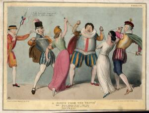 view Daniel O'Connell in theatrical costume defends himself with two daggers from two women wielding daggers who are restrained by the Duke of Wellington and Lord Roden; Lord Eliot with a halberd is dressed as a beefeater. Coloured lithograph by H.B. (John Doyle), 1843.