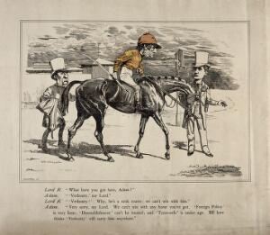 view Gladstone on a horse dressed as a jockey, conversing with Lord Rosebery. Engraving by L. Sambourne, ca. 1870.