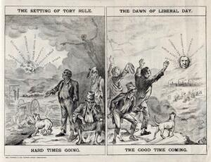 view Left, the sun depicting Disraeli is setting on a devastated land; right, the sun depicting Gladstone is rising, bringing hope and a blooming economy. Lithograph, 1879.