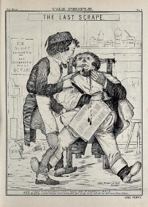 """view Benjamin Disraeli as a barber called """"Ben Jingo"""" is cutting the face of John Bull while shaving him. Engraving by W.D. Ewan, ca. 1880."""