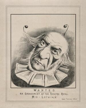 view William Gladstone disguised as a clown. Lithograph by Karl Goethe, ca. 1880.