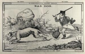 view William Gladstone chasing with a stick a dog with the face of Benjamin Disraeli. Engraving after W.D. Ewan, ca. 1880.