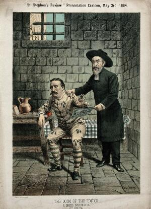 view A clergyman is visiting a journalist in prison. Lithograph after Tom Merry, 3 May 1884.