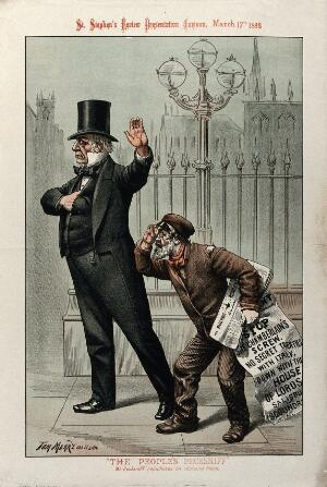 view A well dressed middle-aged gentleman gestures away a newspaper seller. Colour lithograph by Tom Merry after himself, 17 March 1888.
