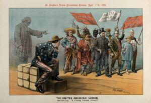 view An American man is watching a procession that includes a German anarchist, a Russian nihilist, an American Indian, an Englishman etc. Lithograph by Tom Merry, 11 April 1891.