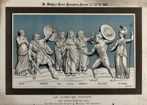 view Two men, Parnell and Walters, dressed as Roman gladiators, are fighting under the eyes of two judges and a barrister. Lithograph by Tom Merry, 27 October 1888.