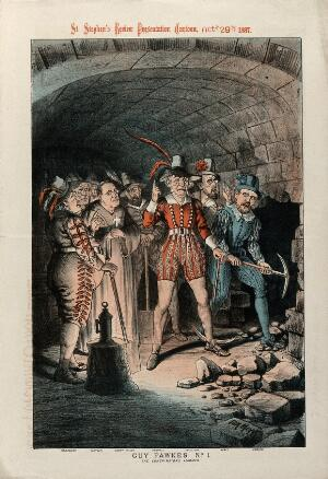 view Victorian politicians sympathetic to Irish Home Rule in the guise of Guy Fawkes and his conspirators breaking into the undercroft of the House of Lords. Colour lithograph by Tom Merry, 1887.
