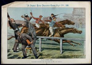 view Three bookmakers are watching a horserace. Lithograph by Tom Merry, 7 September 1889.