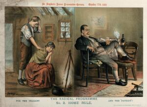 view Contrast between the housing conditions of the Irish rural poor and those of the middle-class urban population. Lithograph by Tom Merry, 17 October 1891.