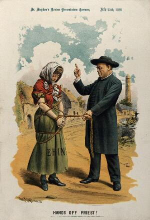 view A priest (the Catholic church) has tied a young woman (Ireland) with a rope and is admonishing her. Lithograph by Tom Merry, July 1891.