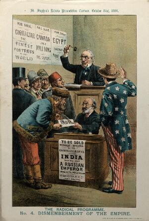 view India being sold at auction to a Russian man. Lithograph by Tom Merry, 31 October 1891.