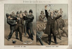view Charles Bradlaugh being arrested by the police in 1881 for refusing to take the oath as a Member of Parliament, and subsequently rejoicing at the passage of his Oaths Bill in 1888. Lithograph by Tom Merry, 1888.