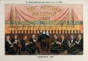 """view An orchestra is tuning up in a theatre; curtain in the background on which is inscribed """"the autumn session 1890-1"""". Lithograph by Tom Merry, 22 November 1890."""