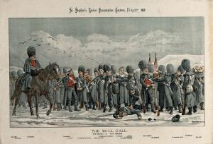 view An army of men wearing fur hats, among which are W.E. Gladstone, Rosebery, Chamberlain and the Earl Spencer, is standing in the snow. Lithograph by Tom Merry, 13 February 1886.