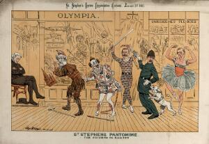 view Five men are performing a pantomime whilst a spectator is asleep in his chair. Lithograph by Tom Merry, 1 January 1887.